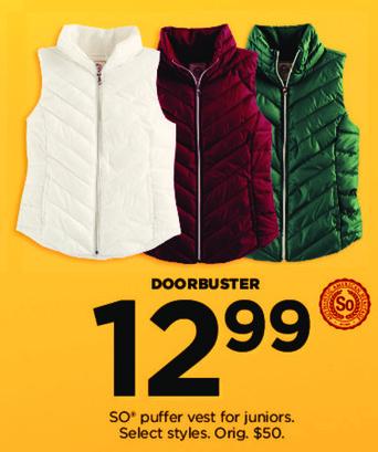 Kohl's Black Friday: Juniors SO Puffer Vest for $12.99