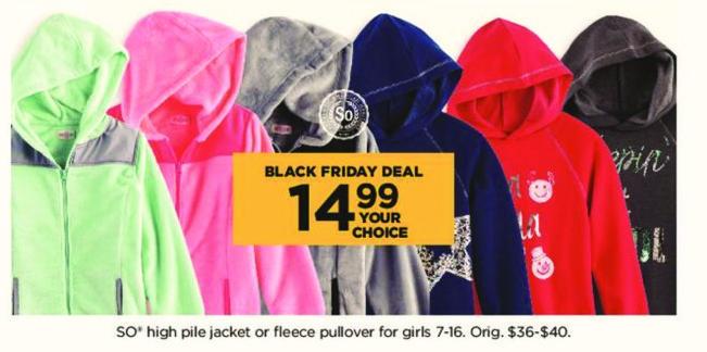 Kohl's Black Friday: Girls SO High Pile Jacket Or Fleece Pullover for $14.99