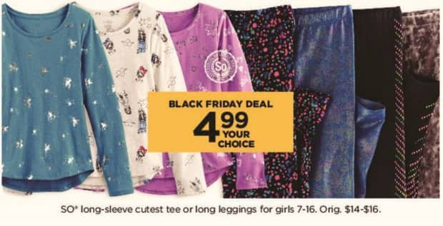 Kohl's Black Friday: Girls SO Long-Sleeve Cutest Tee Or Long Leggings for $4.99