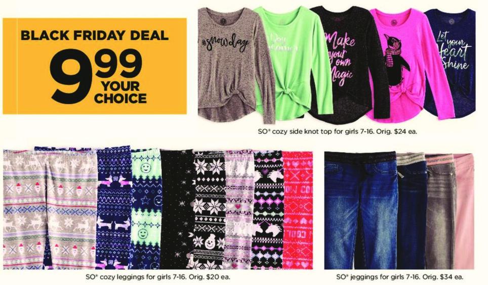 Kohl's Black Friday: Girls SO Leggings for $9.99