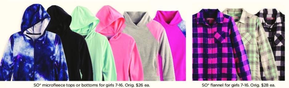 Kohl's Black Friday: Girls SO Microfleece Tops or Bottoms for $9.99