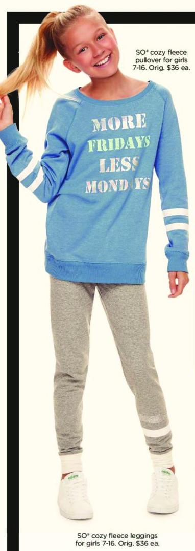 Kohl's Black Friday: Girls SO  Cozy Fleece Leggings for $9.99