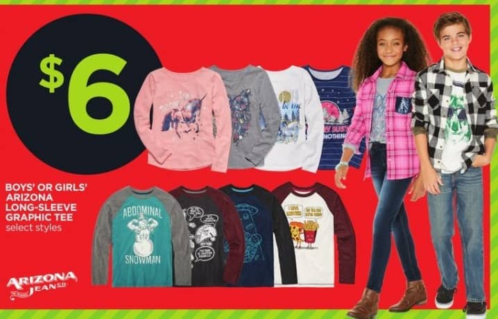 JCPenney Black Friday: Arizona Boys Or Girls  Long-Sleeve Graphic Tee (Select Styles) for $6.00