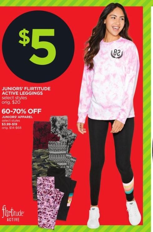 JCPenney Black Friday: Flirtitude Juniors Active Leggings (Select Styles) for $5.00