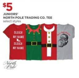 JCPenney Black Friday: Juniors' North Pole Trading Co. Juniors Tee (Select Styles) for $5.00