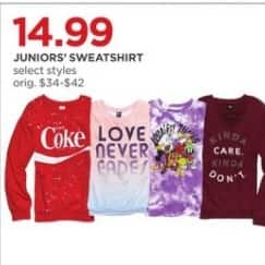 JCPenney Black Friday: Juniors Sweatshirt (Select Styles) for $14.99