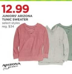 JCPenney Black Friday: Juniors Arizona Jeans Tunic Sweater (Select Styles) for $12.99