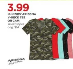 JCPenney Black Friday: Arizona Jeans Juniors V-Neck Tee or Cami  (Select Styles) for $3.99