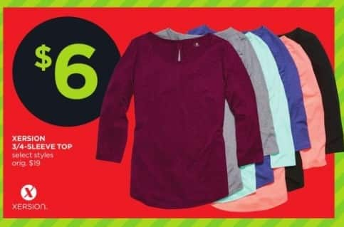 JCPenney Black Friday: Xersion 3/4-Sleeve Top, Select Styles for $6.00