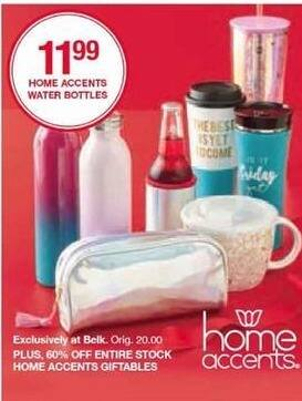 Belk Black Friday: Home Accents Water Bottles for $11.99