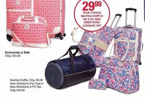 Belk Black Friday: Nautica Duffle or 3-PC New Directions Luggage Set for $29.99