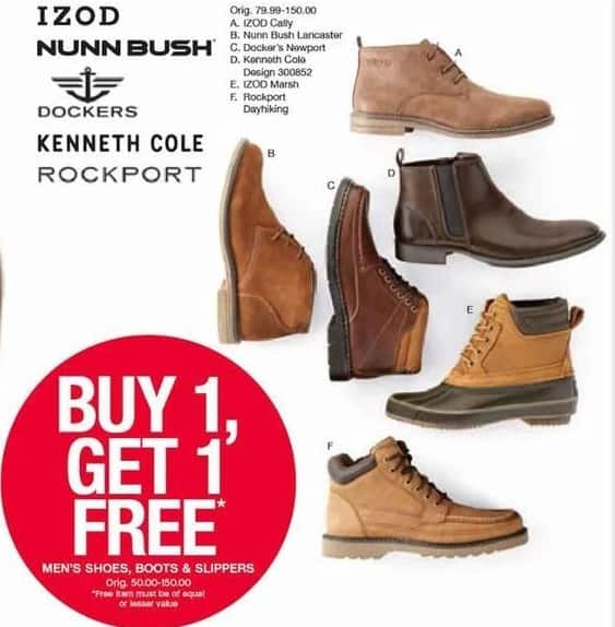Belk Black Friday: IZOD, Nunbush, Rockport,Kenneth Cole, Dockers Men's Shoes And Boots, Select Styles - B1G1 Free