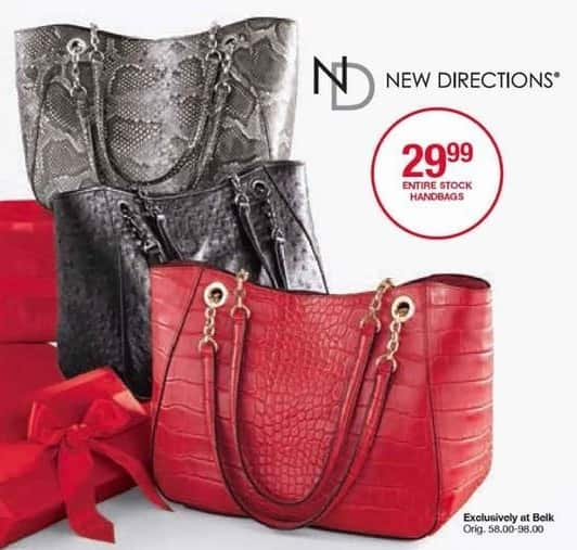 Belk Black Friday: Entire New Directions Stock Of Handbags for $29.99