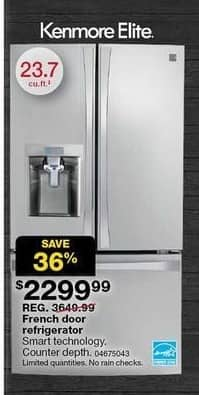 Sears Black Friday: Kenmore Elite 24-cu.ft. Smart French Door Bottom-Mount Refrigerator (75043) for $2,299.99