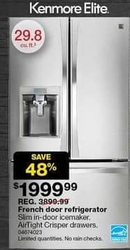 Sears Black Friday: Kenmore Elite 29.8-cu. ft. French Door Bottom-Freezer Refrigerator (74023) for $1,999.99