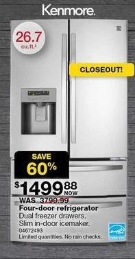 Sears Black Friday: Kenmore 26.7-cu. ft. 4-Door French Door Refrigerator (72493) for $1,499.88