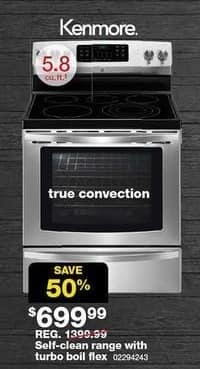 Sears Black Friday: Kenmore 5.8-cu. ft. Self-Clean Range w/ Turbo Boil Flex (94243) for $699.99