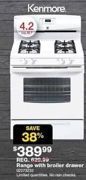 Sears Black Friday: Kenmore 4.2-cu. ft. White Range w/ Broil & Serve Drawer (73232) for $389.99