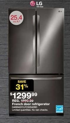Sears Black Friday: LG 25.4-cu. ft. French Door Refrigerator (LFCS25426D) for $1,299.99