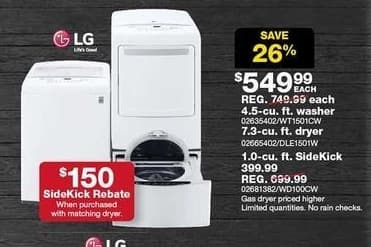 Sears Black Friday: LG 7.3-cu. ft. Front Control Electric Dryer (DLE1501W) for $549.99