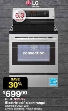 Sears Black Friday: LG 6.3-cu. ft. Electric Self Clean Range (LRE3193ST) for $699.99