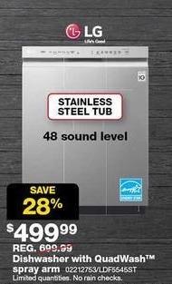 Sears Black Friday: LG Stainless Steel Dishwasher w/ QuadWash Spray Arm (LDF5545ST) for $499.99