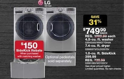 Sears Black Friday: LG 1.0-cu  SideKick Pedestal Washer (WD100CV) for $399.99