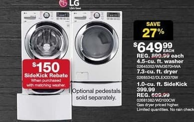 Sears Black Friday: LG 4.5-cu. ft. Ultra Large Capacity Front-Load Washer w/ Steam (WM3670HWA) for $649.99