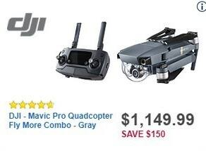 Best Buy Black Friday: DJI Mavic Pro Grey Quadcopter Fly More Combo for $1,149.99