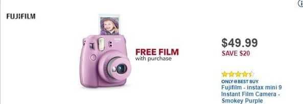 Best Buy Black Friday: Fujifilm Instax Smokey Purple Mini 9 Instant Film Camera + Free Film w/Purchase for $49.99