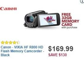 Best Buy Black Friday: Canon VIXIA HF R800 HD Flash Memory Camcorder + Free 32GB Memory Card for $169.99
