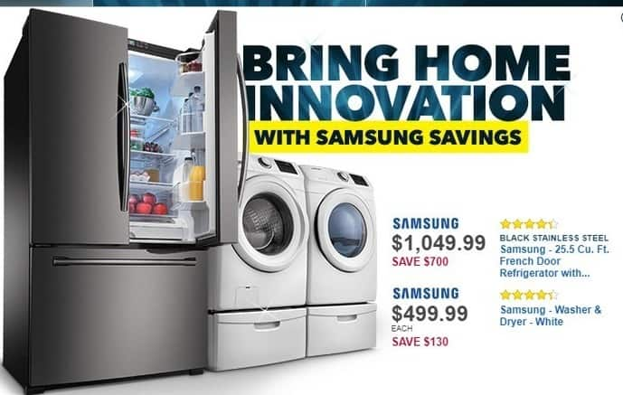 Best Buy Black Friday: Samsung 25.5-cu. ft. Black Stainless Steel French Door Refrigerator w/ Internal Water Dispenser (RF261BEAESG) for $1,049.99