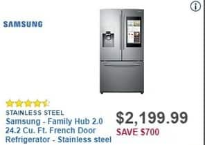 Best Buy Black Friday: Samsung Family Hub 2.0 24.2-cu. ft. Stainless Steel French Door Refrigerator (RF265BEAESR) for $2,199.99