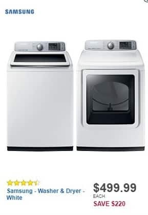 Best Buy Black Friday: Samsung - 5.0 Cu. Ft. 11-Cycle High-Efficiency Top-Loading Washer (WA50M7450AW) for $499.99