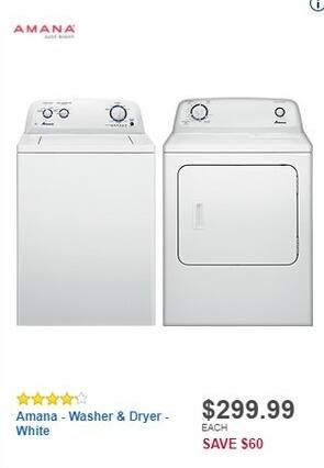 Best Buy Black Friday: Amana - 6.5 Cu. Ft. 11-Cycle Electric Dryer (NED4655EW) for $299.99