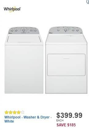 Best Buy Black Friday: Whirlpool Cabrio 4.3-cu. ft. White 12-Cycle High-Efficiency Top-Loading Washer (WTW5000DW) for $399.99