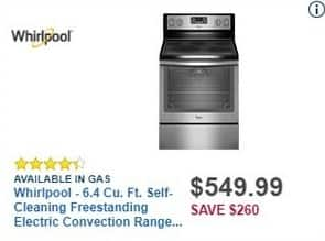 Best Buy Black Friday: Whirlpool 6.4-cu. ft. Stainless Steel Self-Cleaning Freestanding Electric Convection Range (WFE540H0ES) for $549.99