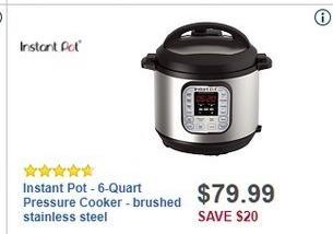 Best Buy Black Friday: Instant Pot 6-Quart Brushed Stainless Steel Pressure Cooker for $79.99