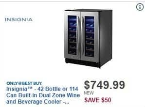 Best Buy Black Friday: Insignia 42 Bottle Or 114 Can Stainless Steel Built-In Dual Zone Wine & Beverage Cooler for $749.99