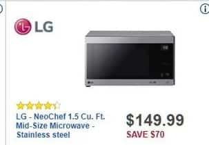 Best Buy Black Friday: LG NeoChef 1.5-cu. ft. Stainless Steel Mid-Size Microwave (LMC1575ST) for $149.99