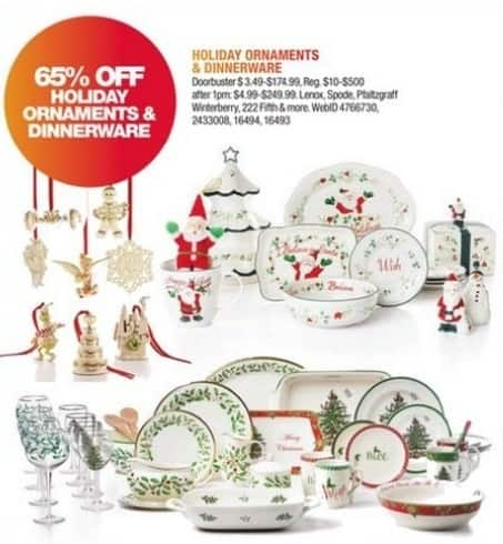 Macy's Black Friday: Holiday Ornaments & Dinnerware From Lenox, Spode, Winterberry and More - 65% Off