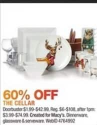 Macy's Black Friday: Dinnerware, Glassware, & Serverware From The Cellar - 60% Off