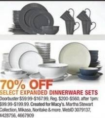 Macy's Black Friday: Select Expanded Dinnerware Sets From Martha Stewart Collection, Mikasa, Noritake And More - 70% Off