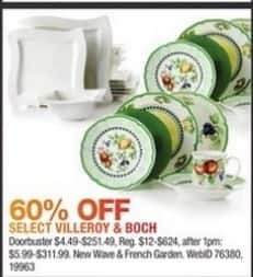 Macy's Black Friday: Villeroy & Boch (Select Styles) - 60% Off