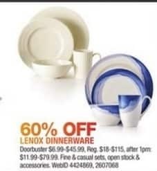 Macy's Black Friday: Lenox Dinnerware That Includes Fine and Casual Sets ,Open Stock & Accessories - 60% Off