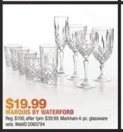 Macy's Black Friday: Markham 4-pc Glassware Sets By Marquis By Waterford for $19.99