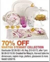 Macy's Black Friday: Martha Stewart Collection Including Table Linens, Dinnerware, Napkin Rings, Platters, Glassware and More - 70% Off