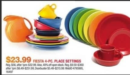 Macy's Black Friday: Fiesta 4-PC Place Settings for $23.99