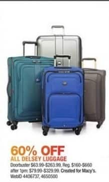 Macy's Black Friday: All Delsey Luggage - 60% Off