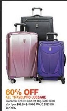 Macy's Black Friday: All Travelpro Luggage - 60% Off